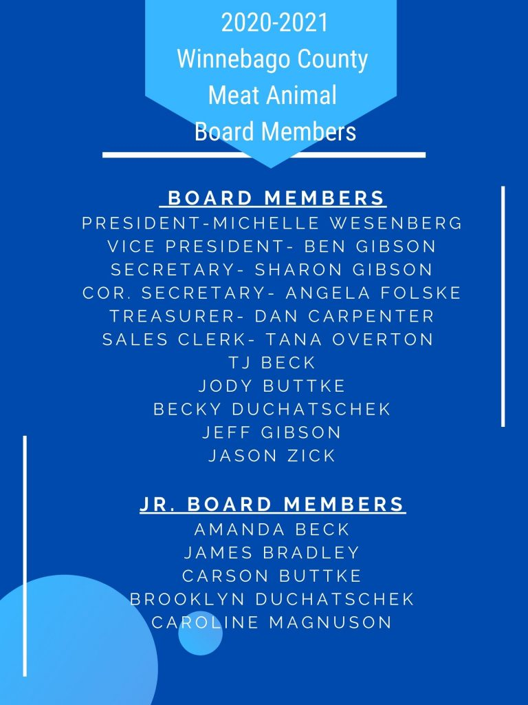 Listing of Board Members for 2020-2021. This information is also available on our Contact Us page.